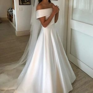 Gorgeous Wedding Dress Satin ALine Simple Size 8